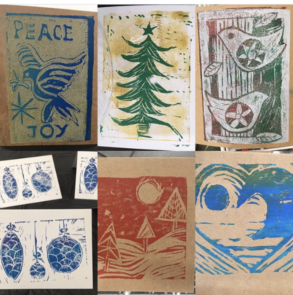 Hand Printed Holiday Cards Workshop