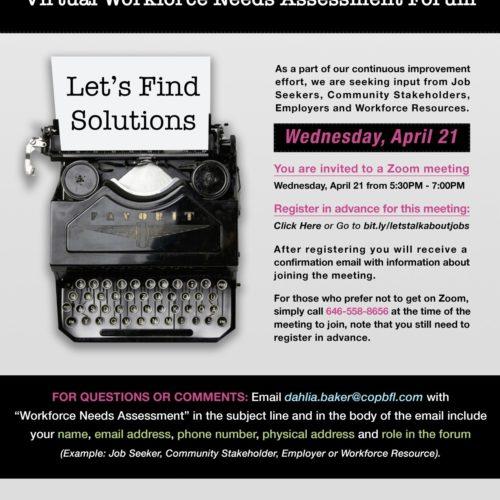 Let's Talk About Jobs: Virtual Workforce Needs Assessment Forum